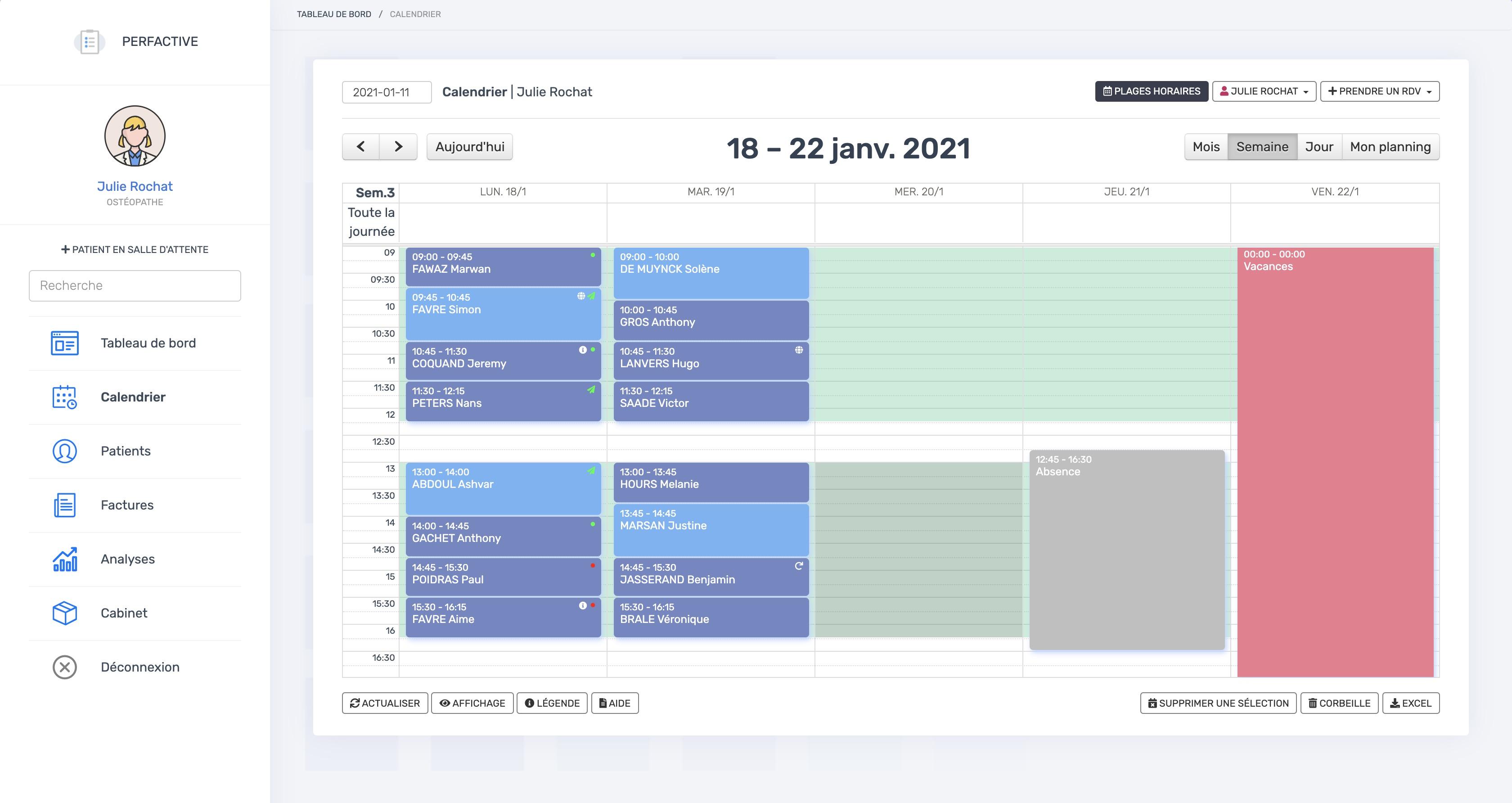 Le calendrier | PERF'RDV