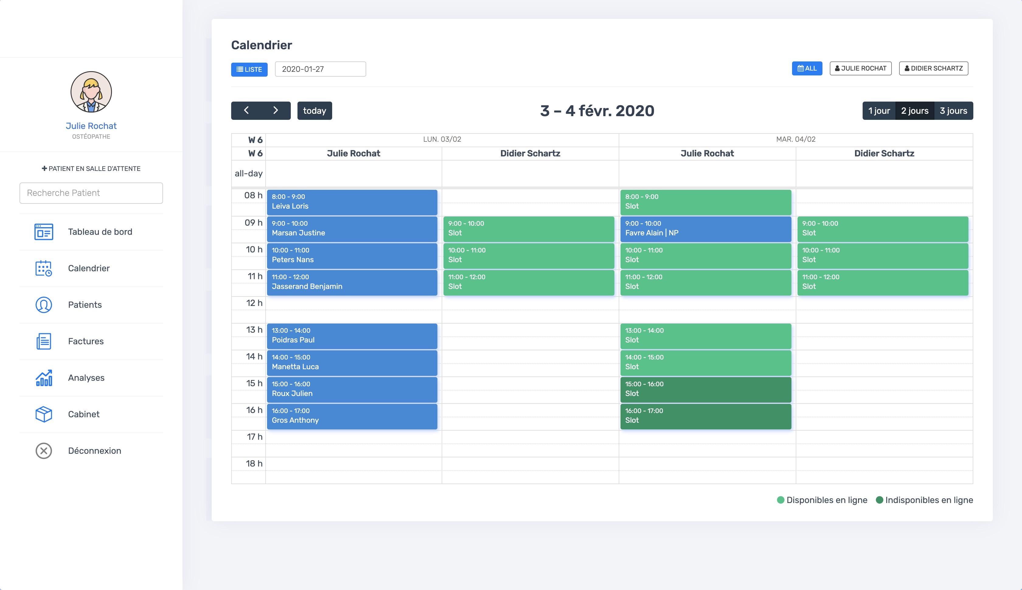 La vue du calendrier multi-thérapeutes | PERF'RDV