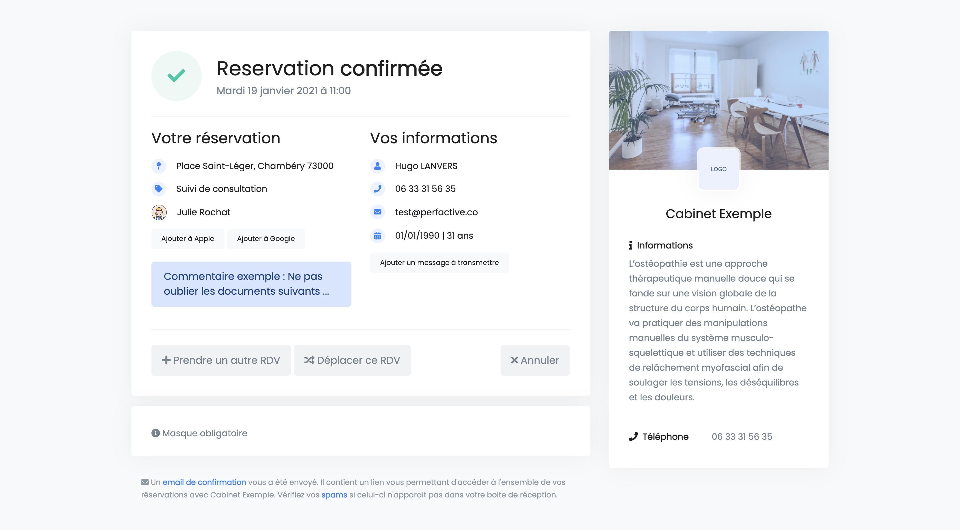 Réservation en ligne | Confirmation | PERF'RDV
