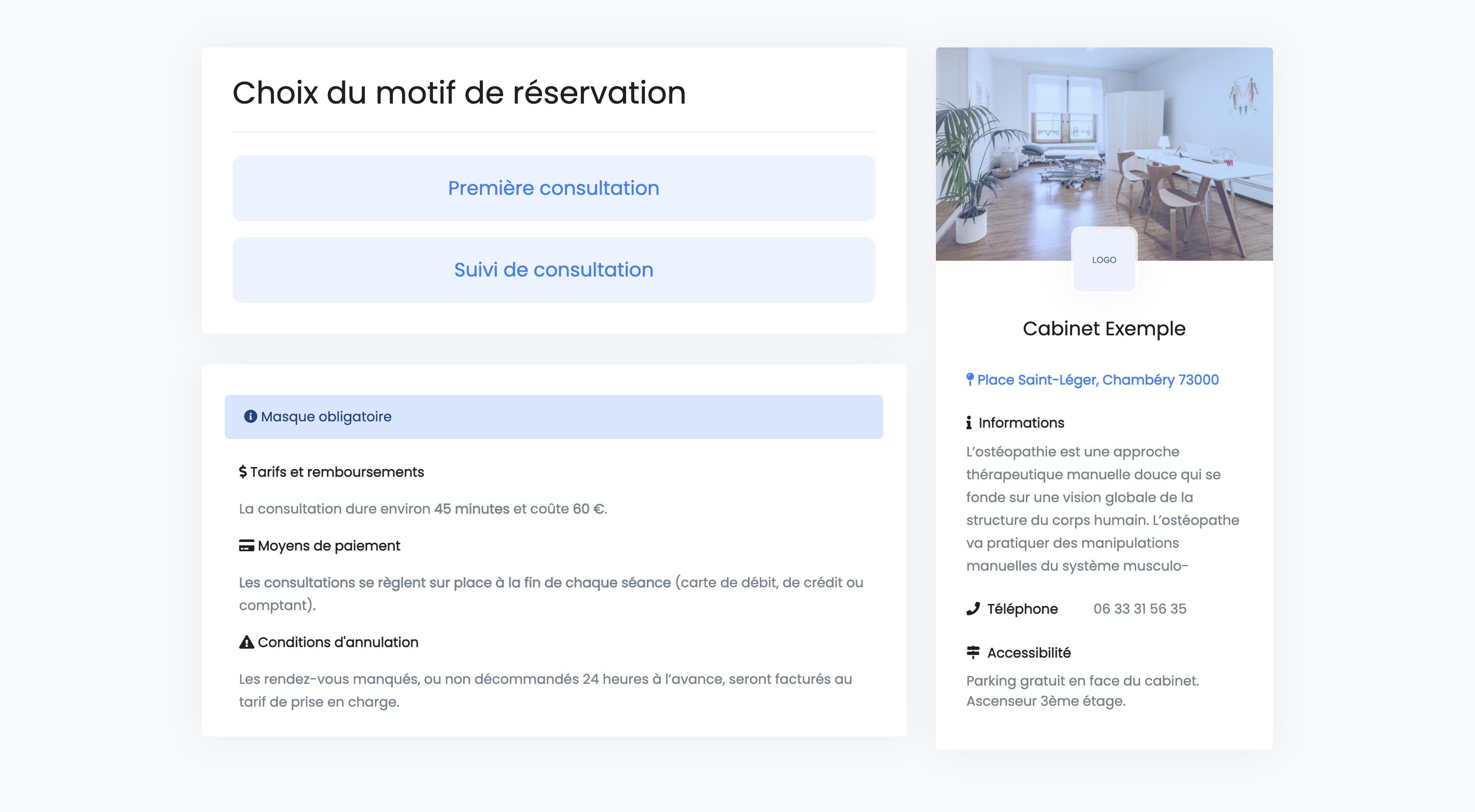 Réservation en ligne | Choix du motif de consultation | PERF'RDV